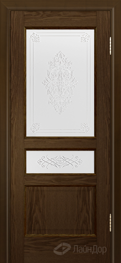 Двери ЛайнДор Калина К тон 35 стекло Дамаск золото на белом