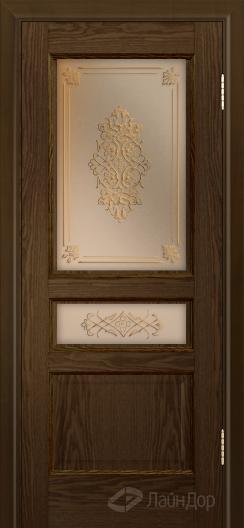 Двери ЛайнДор Калина К тон 35 стекло Дамаск золото на бронзе