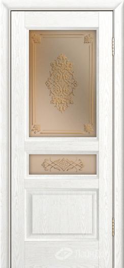Двери ЛайнДор Калина К тон 38 стекло Дамаск золото на бронзе